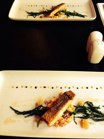 The Old Bell Inn: Starter sea bass samphire mango with wasabi and tamarind ... Amazing