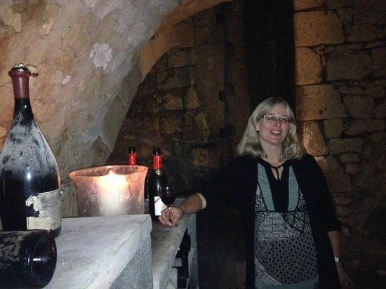 La Closerie Saint Martin: Our host, Katharina, in Wine Cellar