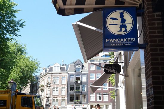 Pancakes Amsterdam: view from where we sat outside