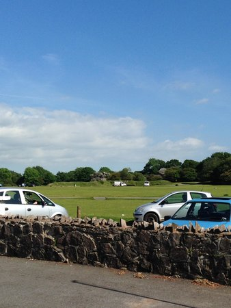 Knightstone Tea Rooms: View of the field and Crapstone