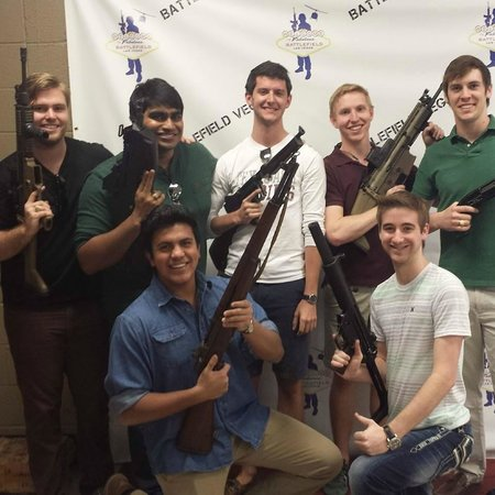 Battlefield Vegas: Our group with our weapons of choice.
