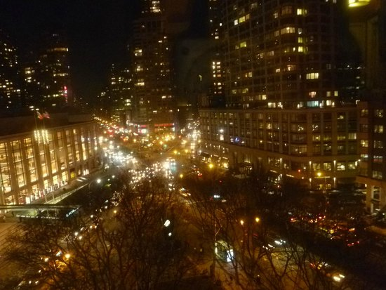 Empire Hotel: Night view from room with Lincoln Center on left