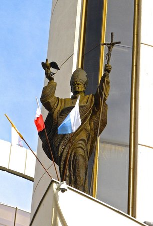 Sanctuary of Divine Mercy: Statue of St. John Paul II on the Basilica