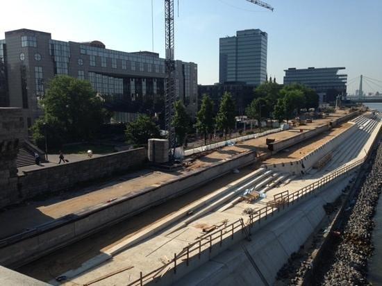 Hyatt Regency Cologne: new riverfront project....view from train bridge