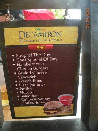 Royal Decameron Montego Beach: Beach Grill menu