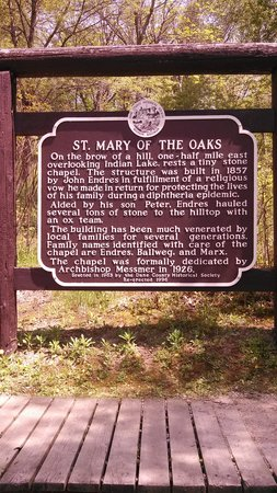 Indian Lake Park: Sign- St. Mary of the Oaks