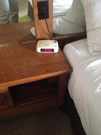 Horseshoe Resort: Side table in master. An alarm clock from forever ago, old cabinetry, etc etc etc
