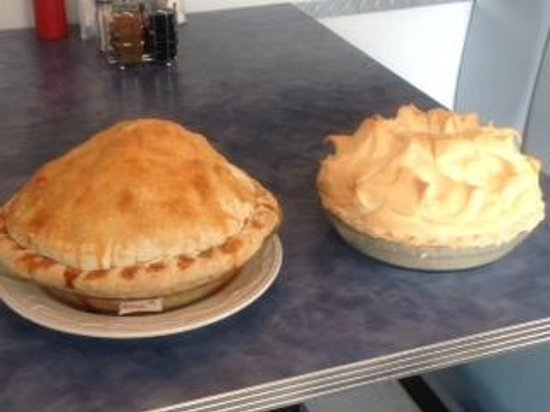 Mom's Cafe: apple and coconut cream pies.