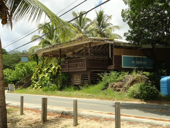 Eat at Cane Bay: The front of Eat, when you're heading east on North Shore Road.  See the dining area at the fron