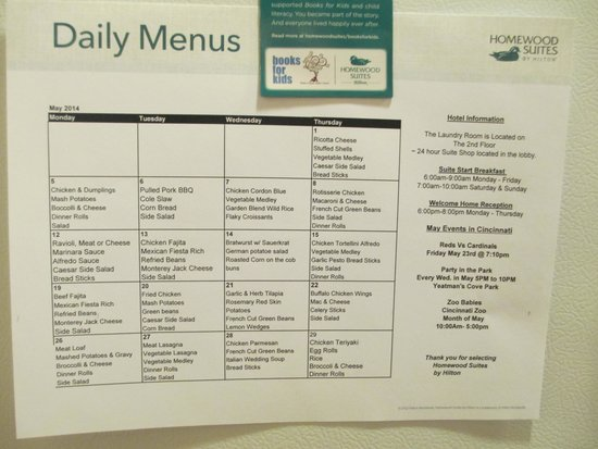 Homewood Suites Cincinnati-Milford : Dinner menu