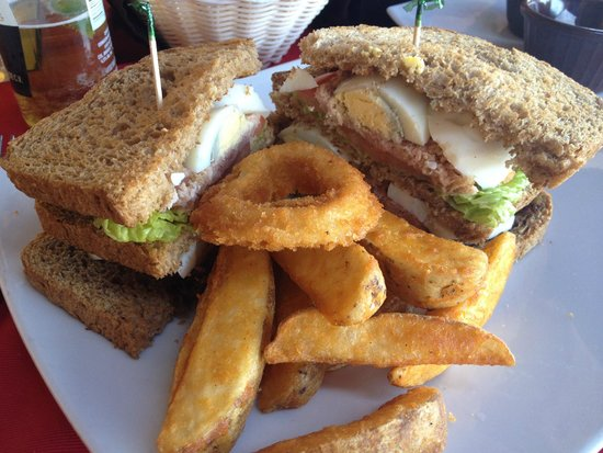 Alexander Restaurant Los Cabos : Awful tuna sandwich.  Overfried onion rings.