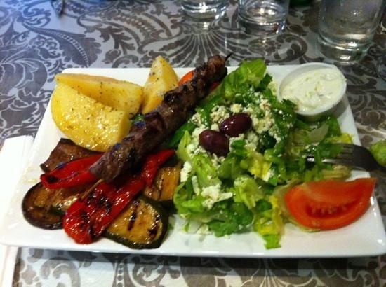 The Greek Souvlaki Shack : lamb souvlaki with veg instead of rice