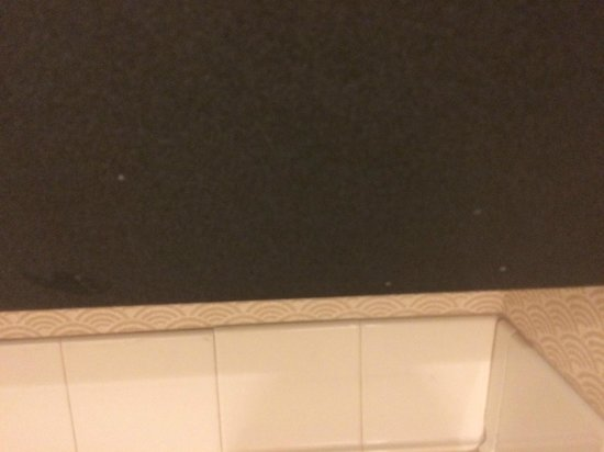 Hyatt Rosemont: Under bathroom sink wood panel spotted with grime