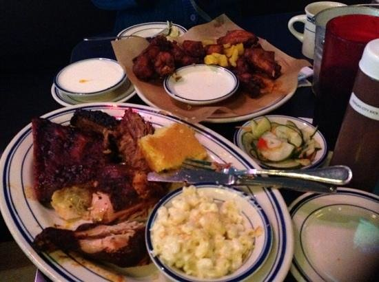 Smokestack Urban Barbecue: combo platter and wing plate