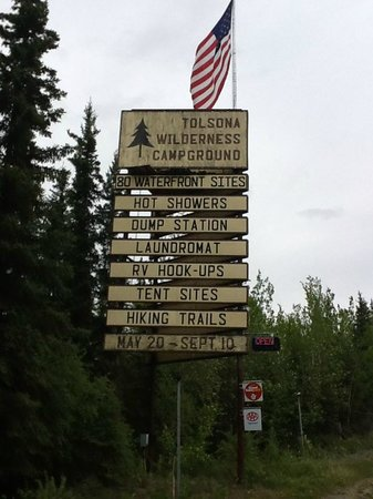 Tolsona Wilderness Campground: Hwy Sign