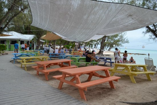 The Rum Point Club Restaurant: Great Shaded Picnic Table Area