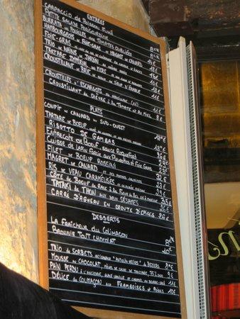 Le Colimacon: The menu