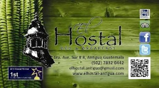 El Hostal Bed and Breakfast: Busines Card