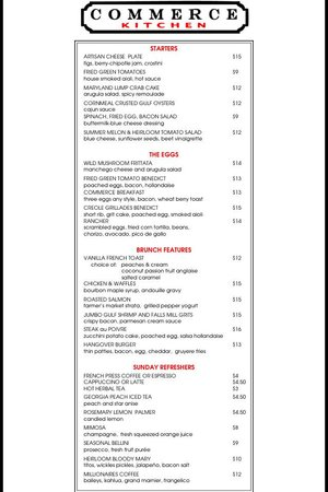 Commerce Kitchen : 2014 Summer Brunch Menu