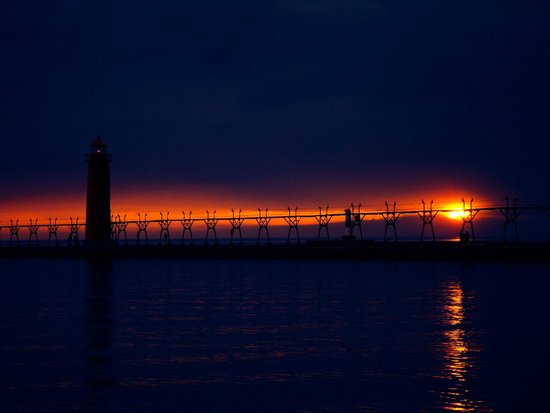 Grand Haven Lighthouse and Pier: Pier/light house/sunset