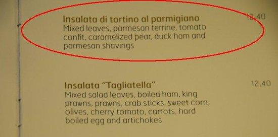 La Tagliatella Cambrils - Barrio Maritimo - Puerto: Order this on the menu!