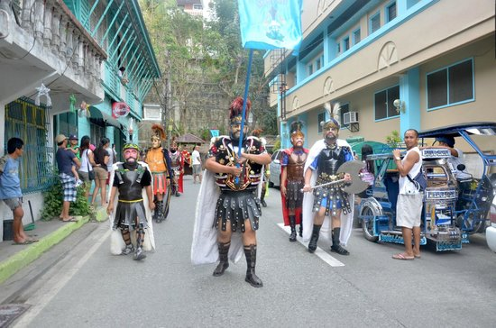 The Boac Hotel: watching Moriones Festival (Boac Hotel as background)