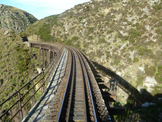Taieri Gorge Railway: view from back of train viewing platform