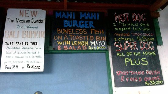 Ari Homestay: Some menus from The Hot Dog Shop