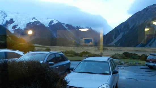 Mt Cook Lodge and Motels: View from the room (it was cloudy)