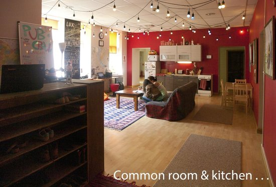 Cinnamon Sally Backpackers Hostel: Common Room and Kitchen