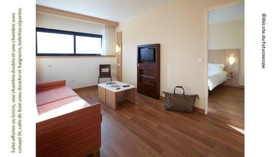 Hotel Ibis Site du Futuroscope : les suites sont des chambres deux fois plus grandes