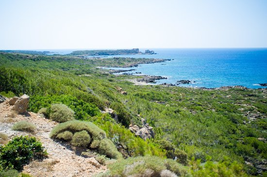 Plage d'Elafonissi : an overhead view of the bay before you enter Elafonissi