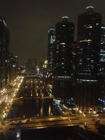 Wyndham Grand Chicago Riverfront: Room view 3015 on a rainy night 6/14
