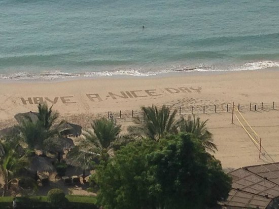 Le Meridien Al Aqah Beach Resort : View of beach writing from our suite