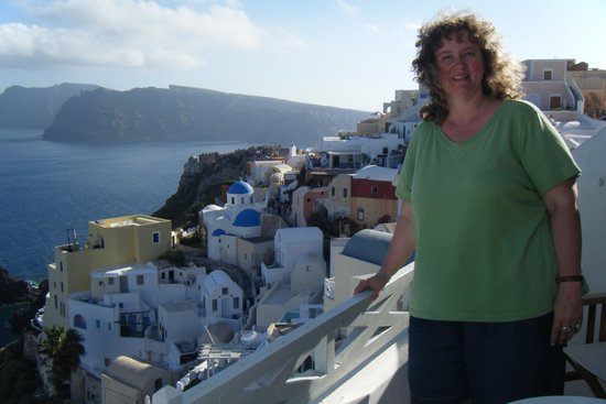 Old Oia Houses: View from our deck overlooking the caldera