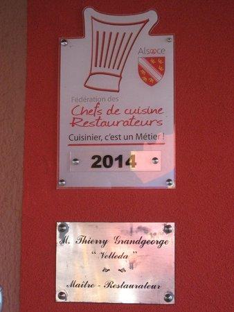 Le Velleda Hotel Restaurant : Toque