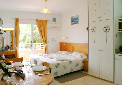 Apollonia Holiday Apartments: Studio apartment 16 with pool view and small balcony