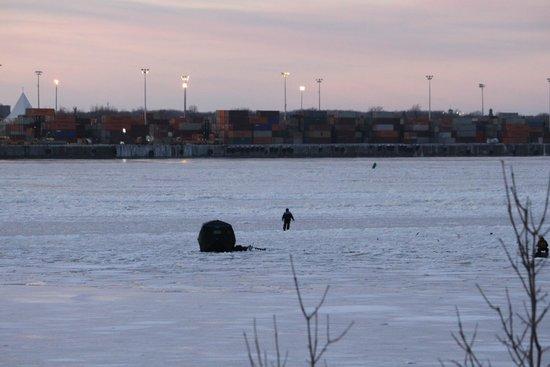 Parc Des Iles de Boucherville : Vue de Montréal et d'un pêcheur sur glace de l'île charron