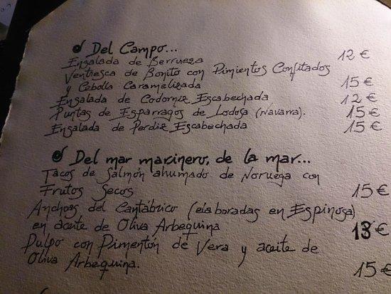 Hotel Posada y Restaurante Torre Berrueza: carta