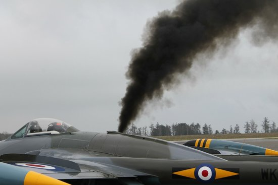 Classic Air Force: The Venom having a cartridge start - it's quite normal for the smoke with this start up.