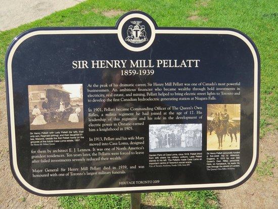 Casa Loma: Sir Henry Pellatt plaque