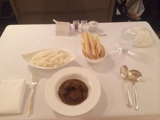 Ana Intercontinental Tokyo : In room dinning. Small portion lamb- with lots of fat and even a hair. Dried pita bread.