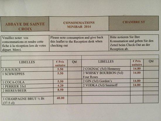 Garrigae Abbaye de Sainte Croix : carte du mini-bar