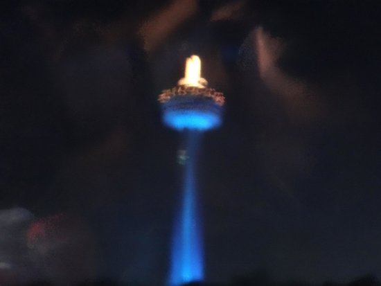 Skylon Tower Revolving Dining Room: Skylon at night from the river