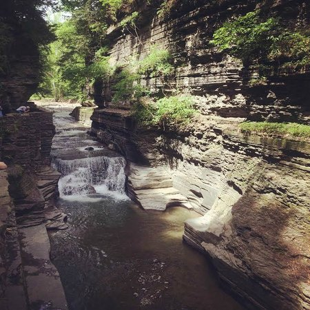 Robert Treman State Park : We took our shoes off and walked around the upper part of the stream