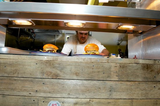 The Alexandra Arms: Chef hard at work knocking out amazing burgers at The Alex