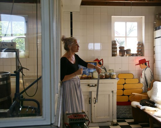 Irene Hoeve Clogs and Cheese Shop: Hostess describing the cheese making