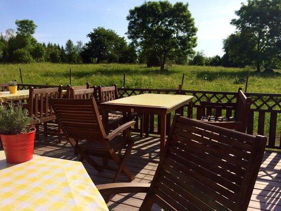 Lilla Sverigebyn: Back patio of dining hall