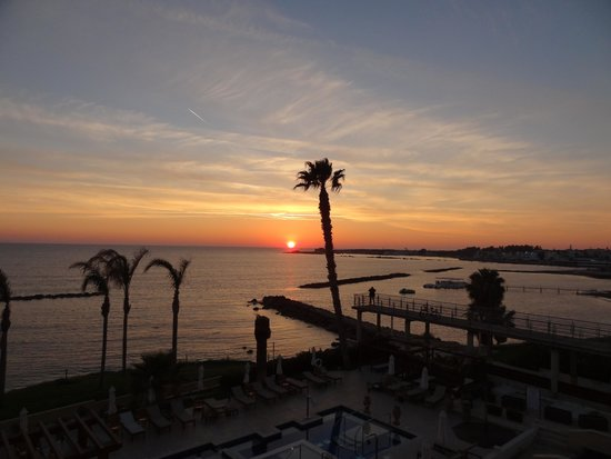 Alexander The Great Beach Hotel: view from room at sunset