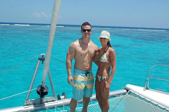 Jolly Harbour, Antigua: Man!  Look at that water! Oh and my hot wife! ha
